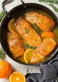 Salmón glaseado a la orange