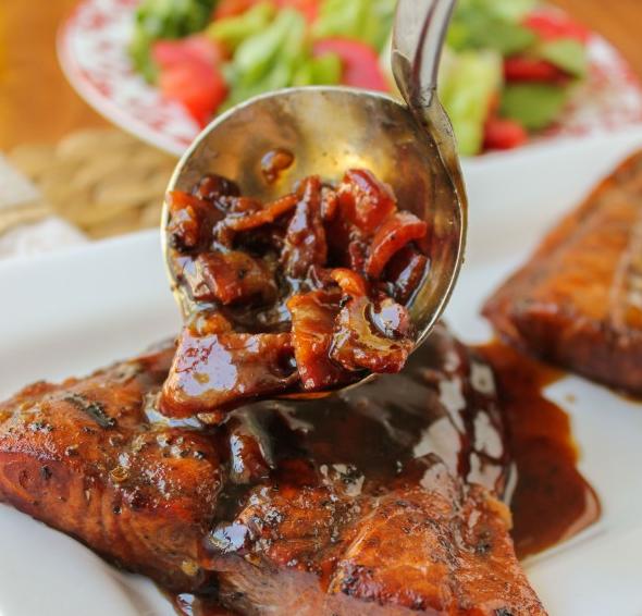 Pollo (o Salmón) con Glaseado Picante de Balsámico y Miel
