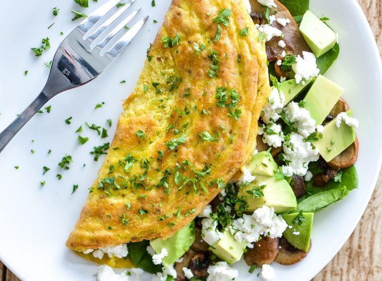 Omelet con queso de cabra