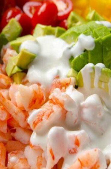 Ensalada griega de camarón