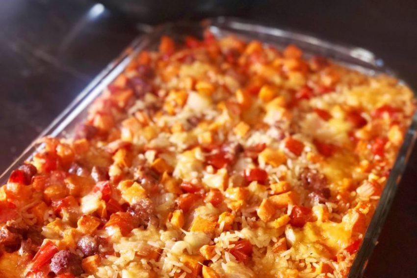 Arroz Horneado con Chorizo y Camote